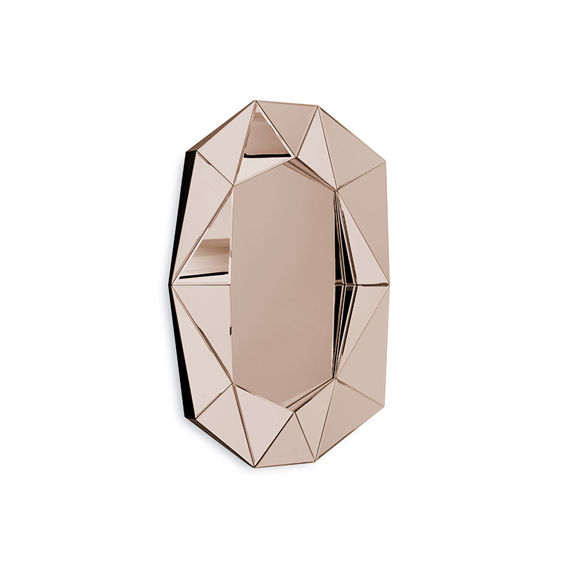Diamond Large Mirror, Rose Gold