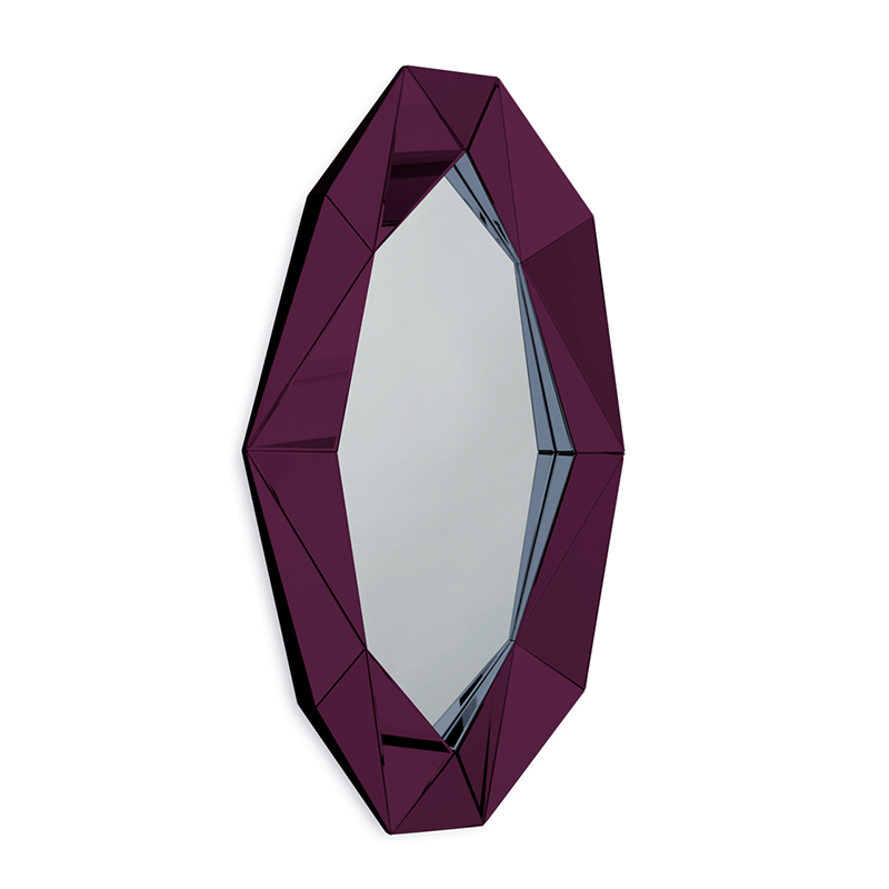 Diamond XL Mirror, Burgundy