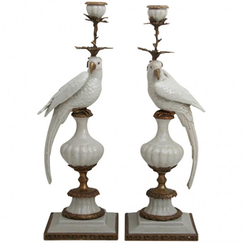 Parrot Candleholders, White