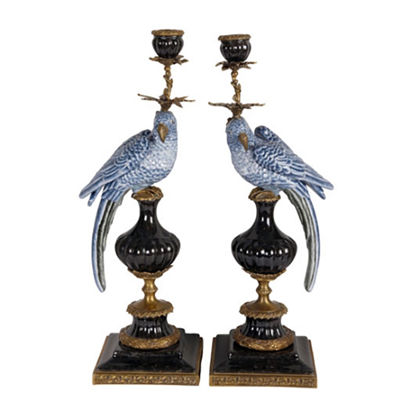 Parrot Candleholders, Blue