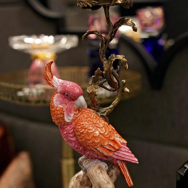 Parrot Candleholder, Coral