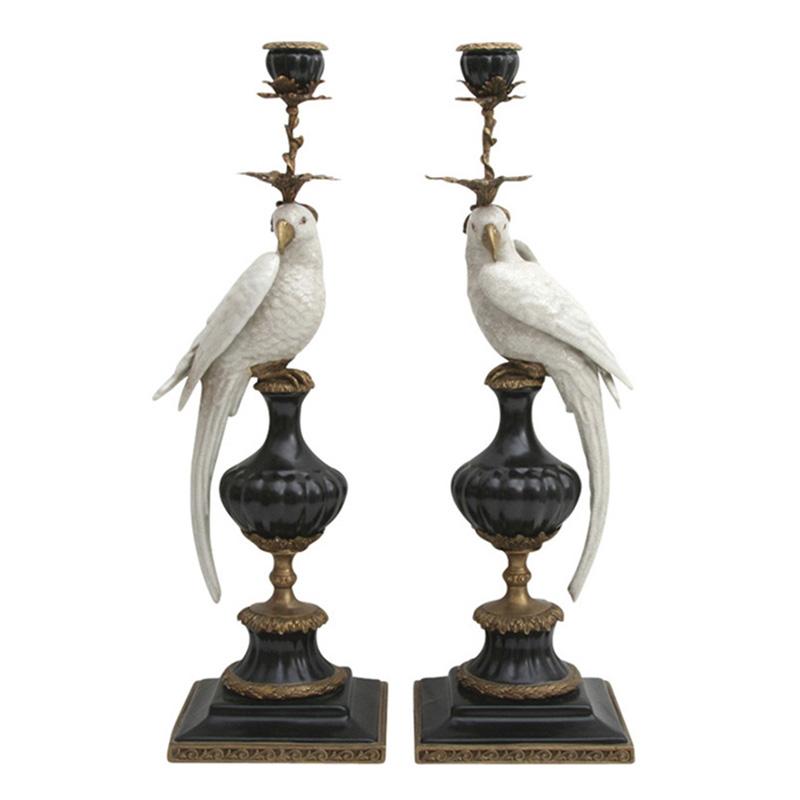Parrot Candleholders, White/Black