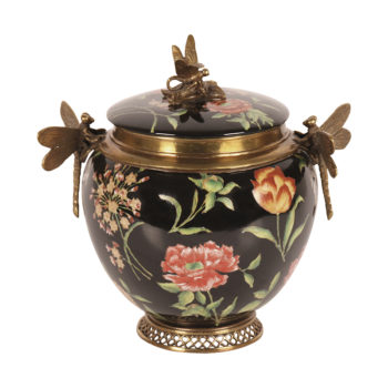 Floral Canister with Dragonflies
