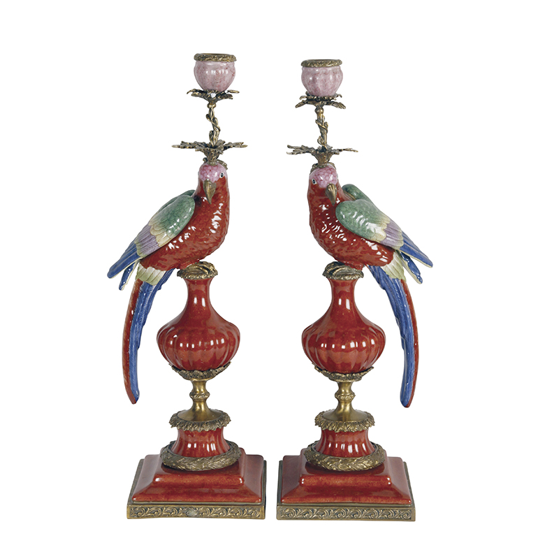 Parrot Candleholders, Red