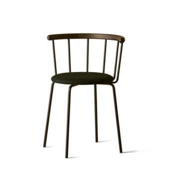 Babette Chair in Black Steel, Black Stained Oak, Green