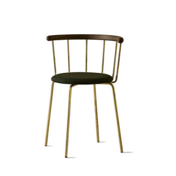 Babette Chair in Brass, Black Stained Oak, Green