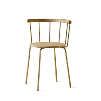 Babette Chair in Brass and Oak