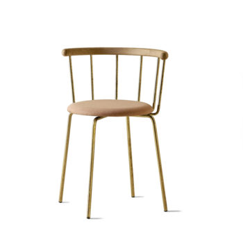 Babette Chair in Brass, Oak and Rose