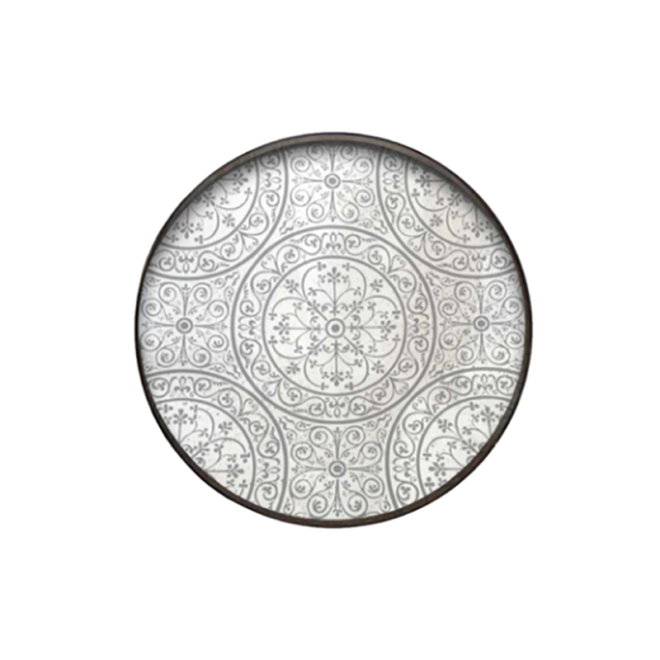 London Essentials - Moroccan Frost Mirror Round Tray, Large