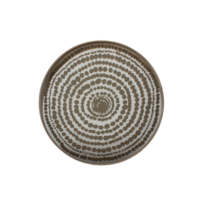 London Essentials - Gold Beads Mirror Round Tray, Large