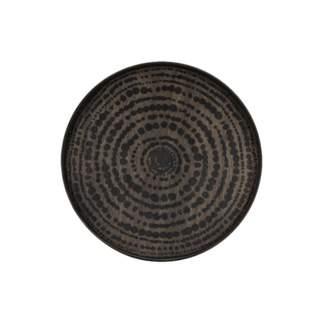 London Essentials - Black Beads Driftwood Round Tray, Small