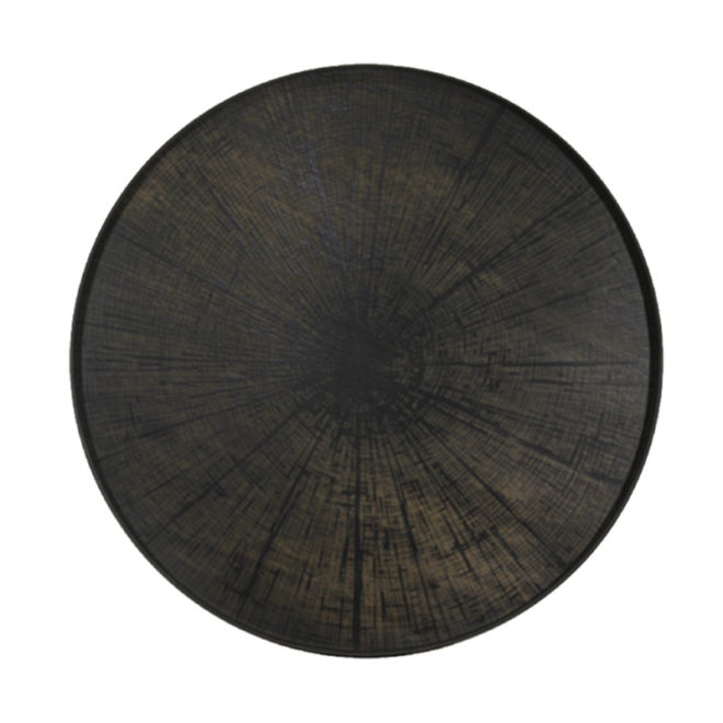 London Essentials - Black Slice Driftwood Round Tray, Extra Large