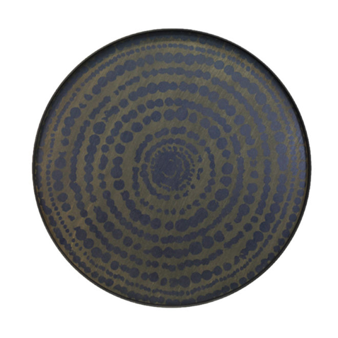 London Essentials - Midnight Blue Beaded Circle Round Tray, Extra Large