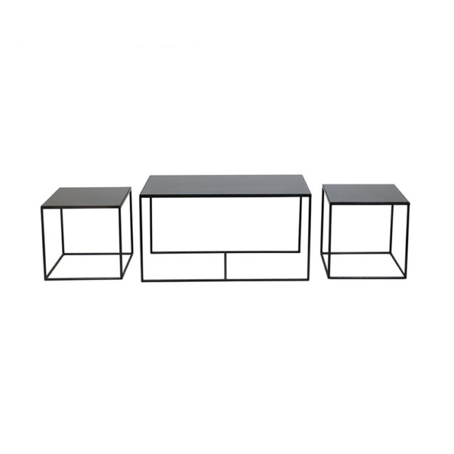 London Essentials - Charcoal Rectangular Nesting Tables, Set of 3