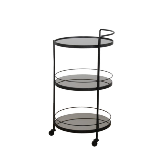 London Essentials - Lucy Charcoal Round Bar Cart