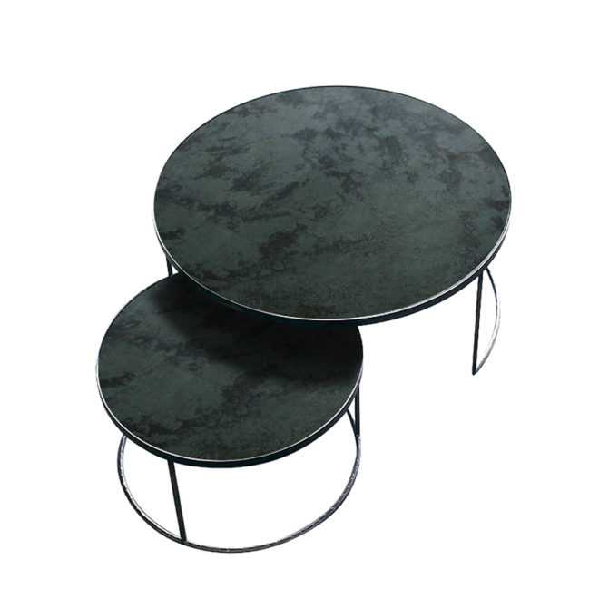 London Essentials - Elicya Charcoal Round Nesting Tables, Low