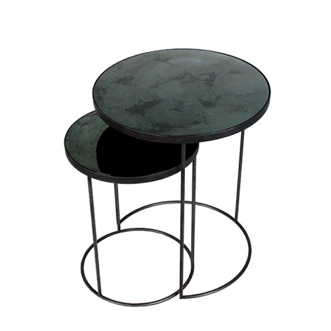 London Essentials - Elicya Charcoal Round Nesting Tables, Tall