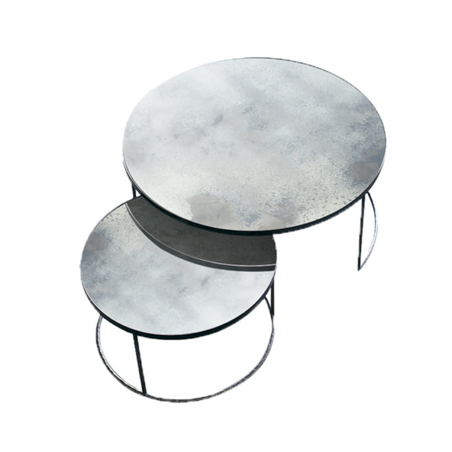 London Essentials - Elicya Clear Round Nesting Tables, Low