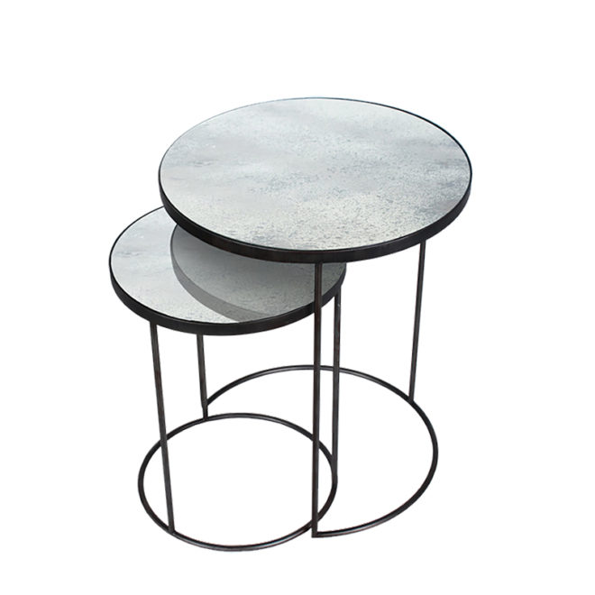 London Essentials - Elicya Clear Round Nesting Tables, Tall