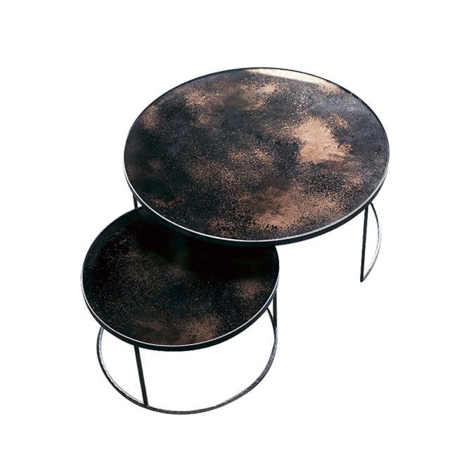 London Essentials - Elicya Bronze Round Nesting Tables, Low